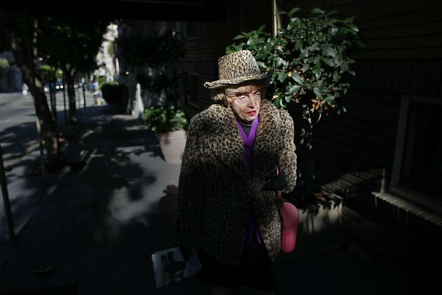 One half of the famed San Francisco twins, Marian Brown, 85, walks home alone from Uncle Vito's Pizz