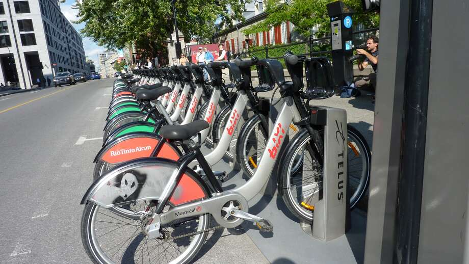"The BIXI bike share program in Montreal. The word is a contraction of ""Bicycle"" and ""Taxi."""