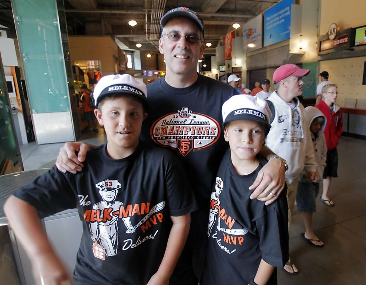 Hayden Beard, 10, left, came with his dad Jeff Beard, center, and friend Devin Guinee, 11, to watch the Giants and his favorite player Melky Cabrera on his birthday, but was dissappointed to find out Cabrera had been suspended for using testosterone. The San Francisco Giants played the Washington Nationals at AT&T Park in San Francisco, Calif., on Wednesday, August 15, 2012. MLB announced the suspension of Melky Cabrera earlier in the day, leaving the Giants without one of their best offensive players and the Giants lost to the Nationals 6-4.