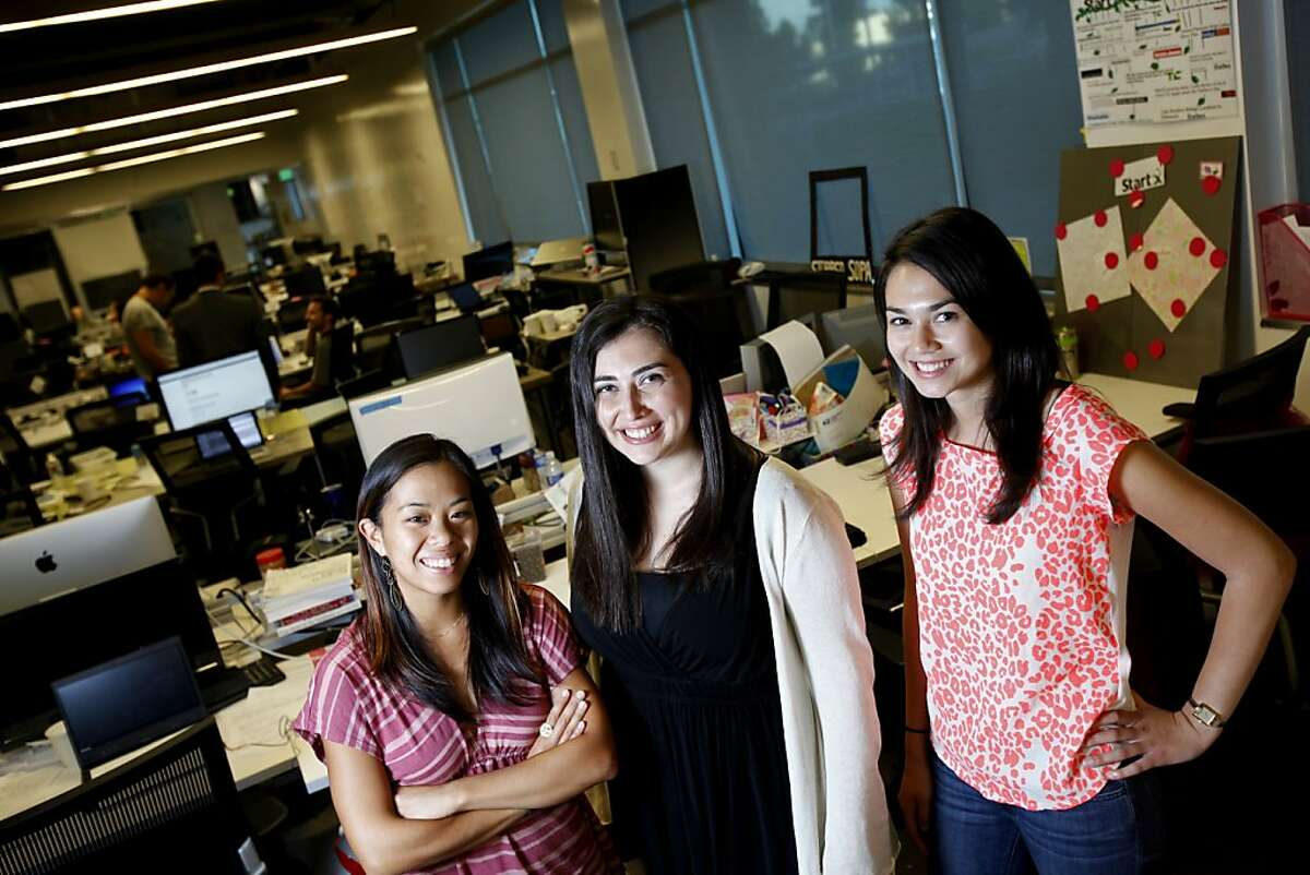From left, Bettina Chen, Jennifer Kessler, and Alice Brooks are the makers of Roominate, a fully customizable toy house girls build themselves with circuitry, photographed at their offices at the Stanford student startup accelerator in Palo Alto, Calif., Thursday, July 26, 2012.