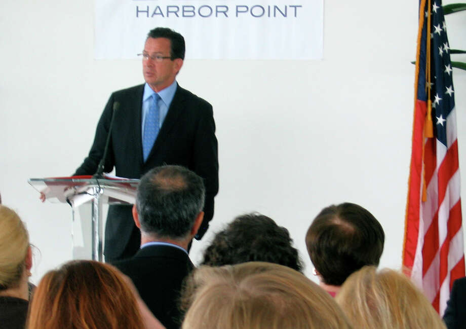 Gov. Dannel P. Malloy announces a deal on Wednesday August 15, 2012, to bring Westport-based hedge fund Bridgewater Associates to Stamford, Conn. and add up to 1,000 jobs at the current site of a boatyard in the cityâÄôs South End. Photo: Olivia Just / Stamford Advocate