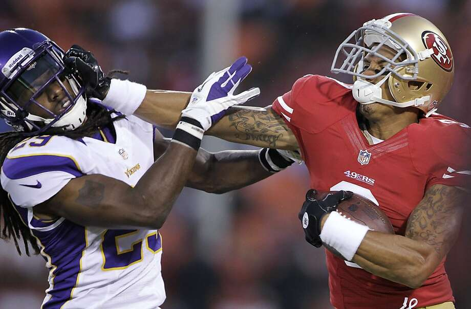 49ers wide receiver Brian Tyms had one catch for 12 yards in his preseason debut against Minnesota. Photo: Paul Sakuma, ASSOCIATED PRESS