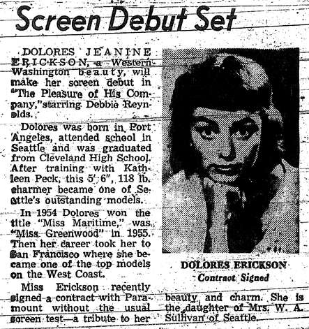 An April 15, 1960, Seattle Post-Intelligencer story about Dolores Erickson's contract with Paramount Pictures. Photo: Seattlepi.com File