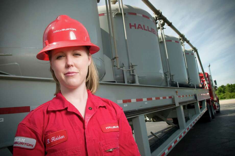 Kristin Holden is a project adviser at the Halliburton Technology Center in Duncan, Okla. The company has added some women to take on part of its recruiting and public speaking as the energy industry seeks more women employees. Photo: Courtesy Halliburton