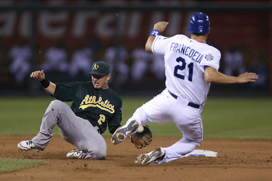 KANSAS CITY, MO - AUGUST 15: Jeff Francoeur #21 of the Kansas City Royals is tagged out by Cliff Pennington #2 of the Oakland Athletics as he tries to steal in the fifth inning on August 15, 2012 at Kauffman Stadium in Kansas City, Missouri. (Photo by Ed Zurga/Getty Images) Photo: Ed Zurga, Getty Images