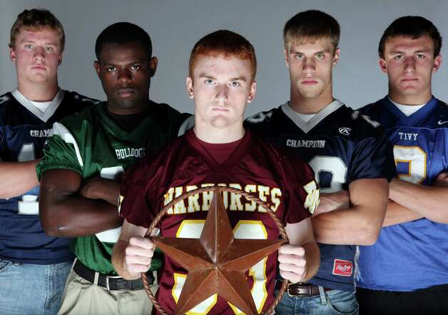 2010 Sub-5A All-Area offensive backfield (left to right): John Free, Boerne Champion; Doug Giles, Marion; Joseph Sadler, Devine; David Rogers, Boerne Champion; Johnny Manziel, Kerrville Tivy. Photo: Edward A. Ornelas, San Antonio Express-News / EAORNELAS@EXPRESS-NEWS.NET