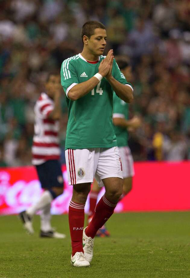 Mexico's Javier Hernandez reacts after missing a chance to score during a friendly soccer match against U.S. in Mexico City, Wednesday, Aug. 15, 2012. (AP Photo/Christian Palma) Photo: Christian Palma, Associated Press / AP