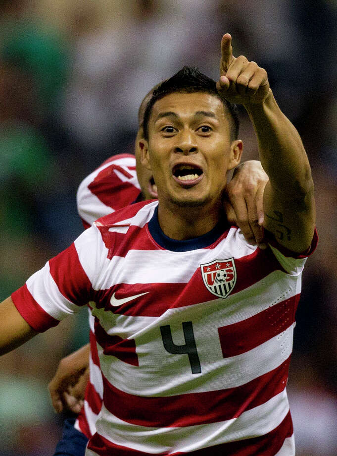 U.S Michael Orozco celebrates after scoring during a friendly soccer game against Mexico in Mexico City, Wednesday, Aug. 15, 2012. (AP Photo/Eduardo Verdugo) Photo: Eduardo Verdugo, Associated Press / AP