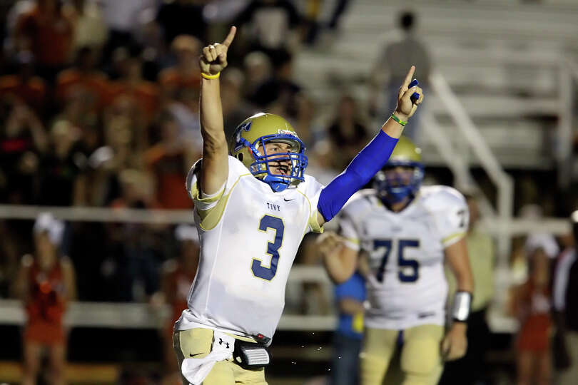 Kerrville Tivy's Johnny Manziel (03) reacts after getting the go-ahead touchdown against Madison in