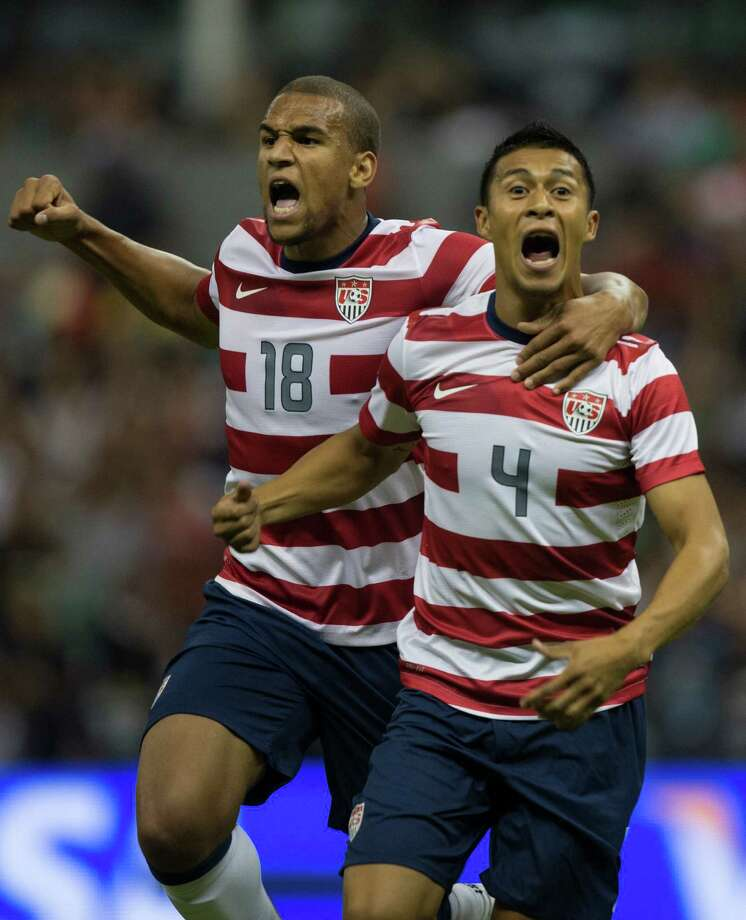 MEXICO CITY, MEXICO - AUGUST 15:  Michael Orozco of the United States celebrates after scoring during a FIFA friendly match between Mexico and US at Azteca Stadium on August 15, 2012 in Mexico City, Mexico. Photo: Miguel Tovar, Getty Images / 2012 Getty Images