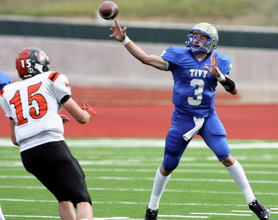 Johnny Manziel fires a pass in the first half as Kerrville Tivy plays Medina Valley in playoff action at Heroes Stadium on Nov. 27, 2009. Photo: Tom Reel, San Antonio Express-News / treel@express-news.net