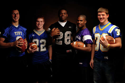 From left, Kerrville Tivy quarterback Johnny Manziel, Alamo Heights running back Justin Rosenthal, Steele running back Malcolm Brown, Brackenridge running back Willie Culpepper and Blanco running back Layton Dworaczyk are offensive backfield Express-News All-Area selections. Dec. 13, 2009. Photo: Billy Calzada, San Antonio Express-News / gcalzada@express-news.net