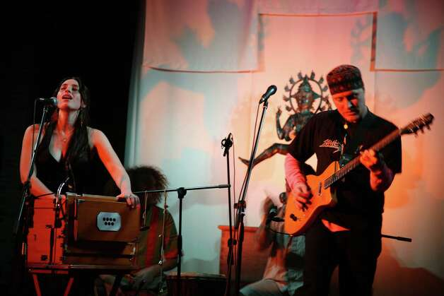 Moksha Sommer (left) and Jemal Wade Hines are the leaders of Hudost, the folk rock ensemble that will be doing a free show at the Levitt Pavillion in Westport on Thursday, Aug. 23 at 8 p.m. Photo: Contributed Photo