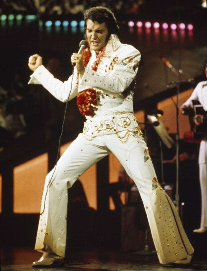 Elvis Presley during a live performance at Honolulu International Center in Honolulu, Hawaii on January 14, 1973 for his NBC special   (Photo by Gary Null/NBC/NBCU Photo Bank via Getty Images) (NBC via Getty Images)