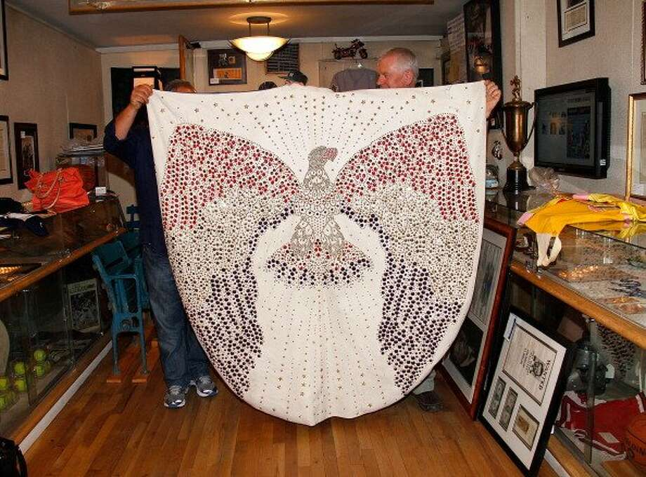 Elvis Presley's cape displayed at a press preview for the Gotta Have Rock and Roll online auction at the Gotta Have It! store on July 25, 2012 in New York City.  (Photo by Laura Cavanaugh/Getty Images) (Getty Images)