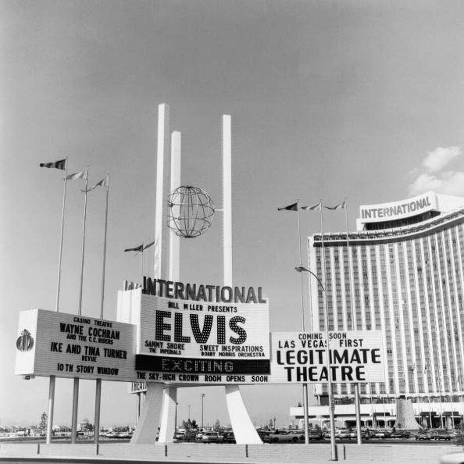 August 1969:  The sign for the International Hotel and Casino, advertising a performance by Elvis Presley, in Las Vegas, Nevada. Also performing were the Ike and Tina Turner Revue, Wayne Cochran, and Sammy Shore.  (Photo by Frank Edwards/Fotos International/Getty Images) (Getty Images)