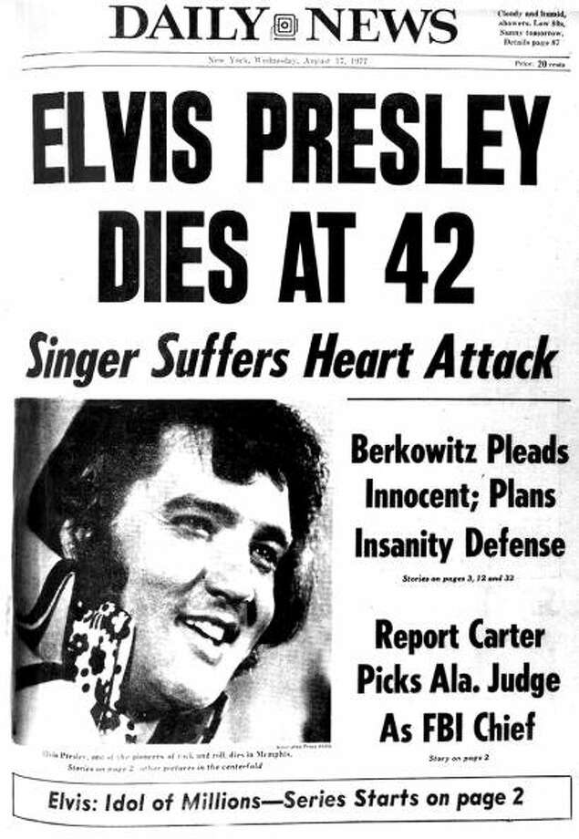 Front page of the Daily News dated Aug. 17, 1977 , Headline: ELVIS PRESLEY DIES AT 42, Subhead: Singer Suffers Heart Attack,  (Photo by NY Daily News Archive via Getty Images) (NY Daily News via Getty Images)