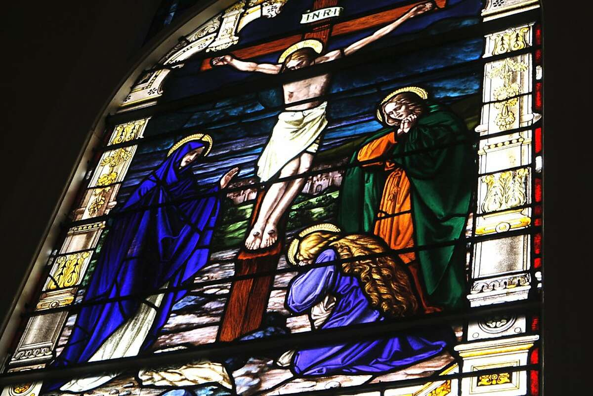A stained glass window is seen at the Most Holy Redeemer church in San Francisco.