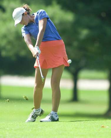 Elizabeth DiVincentis hits from the fairway during final round play in the Connecticut State Women's Amateur golf Championship Thursday at Ridgewood Country Club in Danbury. Photo: Barry Horn