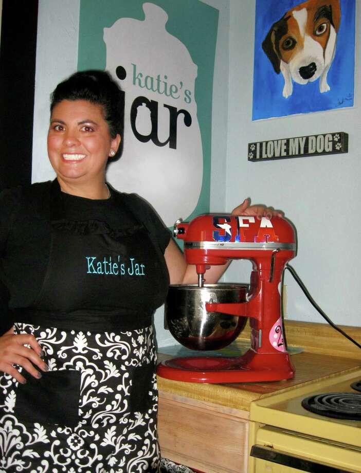Andrea Thompson owner of Katie's Jar dog treats. Photo: Courtesy