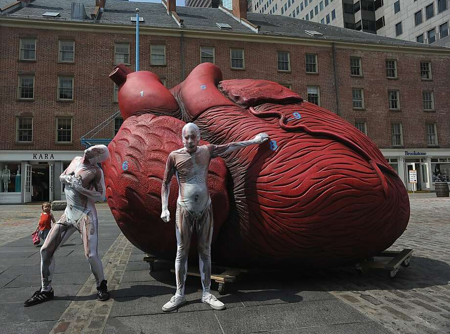 """We 'heart' New York:The Big Ticker in the Big Apple can be found at South Street Seaport, where it is promoting the """"Bodies ... The Exhibition"""" museum show. Photo: Fernando Leon, Getty Images For Bodies...The Ex"""