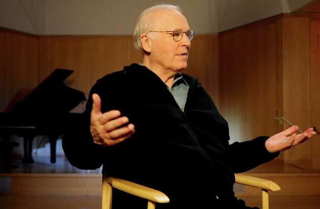 Charles Grodin talks about Laurel House after recording Public Service Announcements for the organization at the Wilton Library on Thursday, August 16, 2012. Photo: Lindsay Niegelberg / Stamford Advocate
