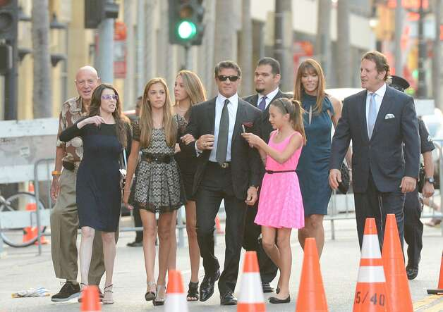 Actor/Writer/Director Sylvester Stallone, wife Jennifer Flavin and family arrive at Lionsgate Films''The Expendables 2' premiere on August 15, 2012 in Hollywood, California.   (Jason Merritt / Getty Images) / SF
