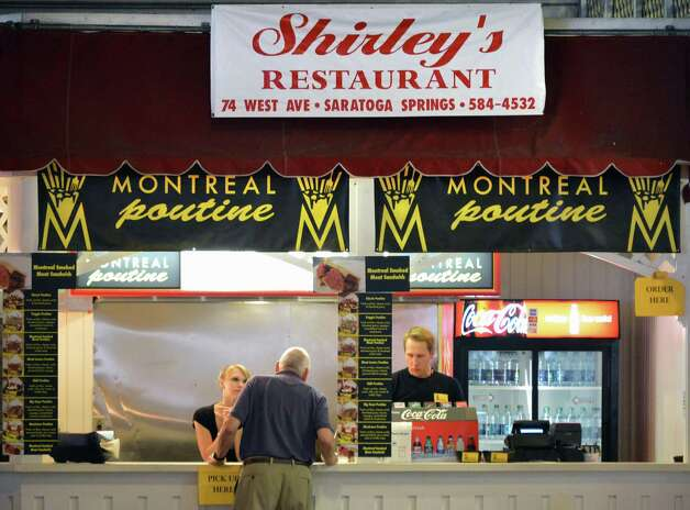 Shirley's Montreal Poutine, under the carousel at Saratoga Race Course Wednesday Aug. 15, 2012. (John Carl D'Annibale / Times Union) Photo: John Carl D'Annibale / 00018831A