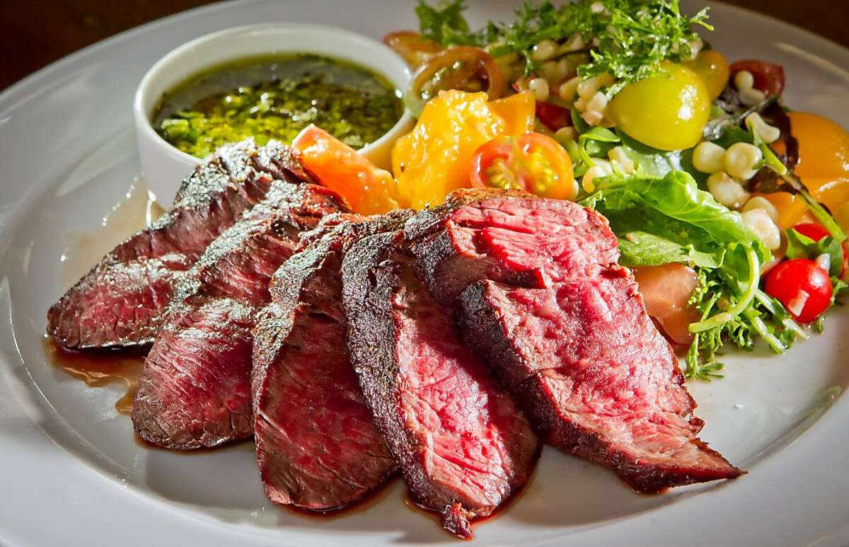 The Grass Fed Hanger Steak at French Blue restaurant in St. Helena, Calif., is seen on Friday, August 10th, 2012.