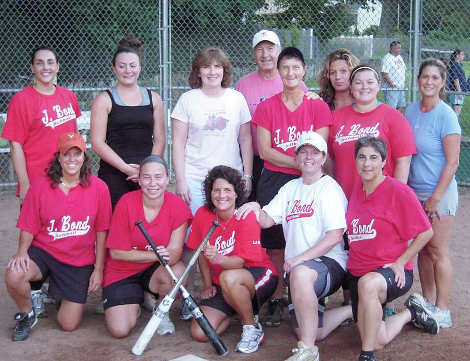 JBond won the Town of Greenwich Women's Softball League title for the third consecutive year. The championship team included: Back row, left to right: Nancy Tarantino, Erica Sabia, Liz Pate, coach Charlie Weiss, Ginny Allis, manager Lisa Weiss, Michelle Santora, Heather Natale. Front row, left to right: Janet Caswell, Amanda Novak, Mary Beth Fratello, Shannon Bassalik, Sally Rogol. Missing from the photo: Christine Grudzinski, Yvonne Dang, Ashley Grudzinski. Photo: Contributed Photo