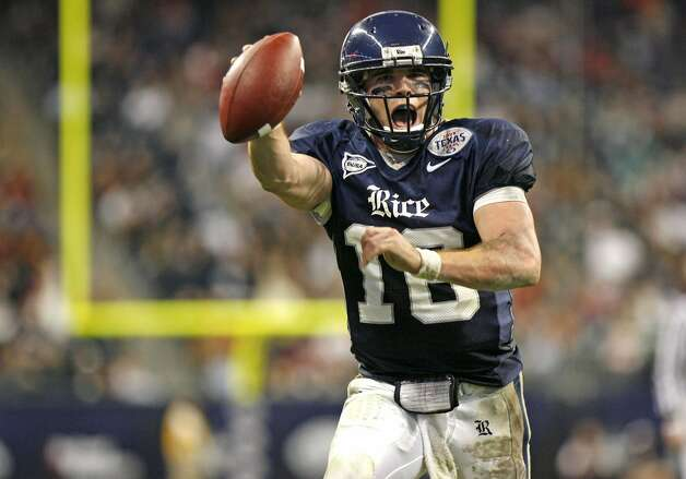 Alamo Height grad Chase Clement rewrote the Rice record book with 9,785 yards, 832 completions, 1,387 attempts and 99 TDs in a career that ended with him winning the C-USA MVP in 2008. He passed for 4,119 yards his senior year and went on to win MVP honors for the Las Vegas Locomotives in the 2010 UFL championship game.
