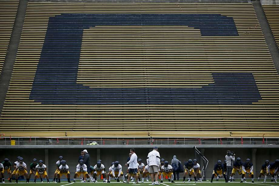Cal's football players get a feel for the new Matrix Turf artificial field at Memorial Stadium, where a $321 million renovation is winding down ahead of the Bears' Sept. 1 opener. Photo: Stephen Lam, Special To The Chronicle