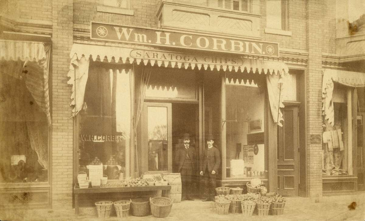 William H. Corbin Grocery Store ? ?Saratoga Chip? on Awning. Saratoga Springs, NY (Now D?Andrea?s Pizza) 1880s. (Alan Richer)