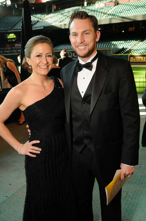 Milessa and Jed Lowrie at the Astros Wives' Gala. (Dave Rossman / For the Houston Chronicle)