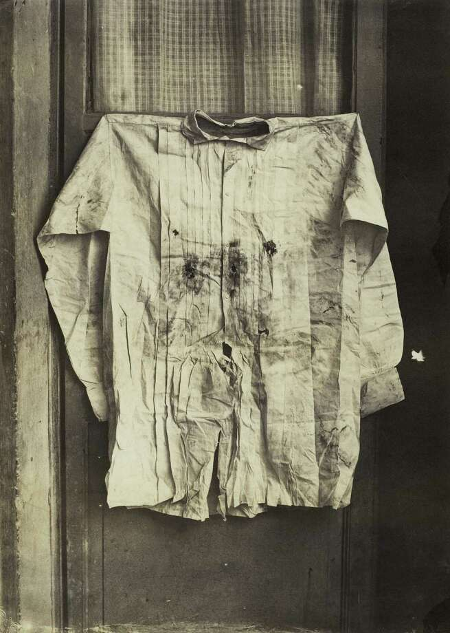 """From """"WAR/PHOTOGRAPHY: Photographs of Armed Conflict and Its Aftermath"""", at the Museum of Fine Arts, Houston Nov. 11 - Feb. 3: Francois Aubert, French, 1829 1906: """"The Shirt of the Emperor, Worn during His Execution"""", Mexico, 1867, Albumen print, The Metropolitan Museum of Art, Gilman Collection, Gift of The Howard Gilman Foundation, 2005   Image copyright   The Metropolitan Museum of Art. Image source: Art Resource, NY Photo: The Metropolitan Museum Of Art / MET"""