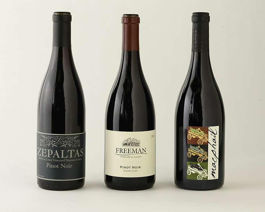 Sonoma Coast Pinot Noirs, from left: 2010 Zepaltas La Cruz Vineyard; 2010 Freeman; 2010 MacPhail Pratt Vineyard as seen in San Francisco, California on Wednesday, August 15, 2012. Photo: Craig Lee, Special To The Chronicle