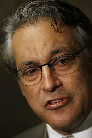 Ross Mirkarimi speaks to reporters after appearing in court for a progress update on his domestic violence batterers intervention program in San Francisco, Calif., Friday, April 6, 2012. Photo: Sarah Rice, Special To The Chronicle