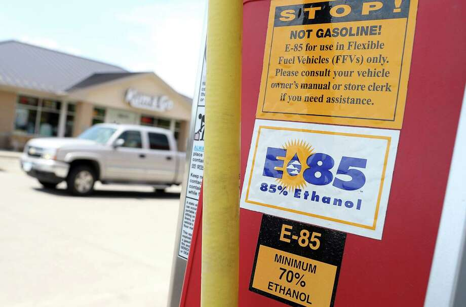 A decal advertising E85 Ethanol is displayed on a gas pump at a Kum and Go gas station on August 7, 2012 in Johnston, Iowa.  An exceptionally hot summer and the worst drought in more than a half century has caused cut prospects for the U.S. corn crop to a five-year low and has sent prices up to over $8.00 a bushel in late July trading. The price surge and limited supply has also prompted ethanol plants to voluntarily slow production by 20 percent, a two year low. Photo: Justin Sullivan, Getty Images / 2012 Getty Images