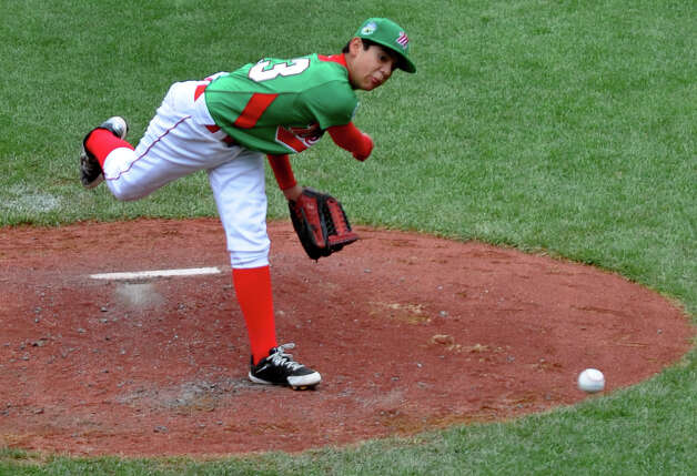 Mexico's Andres Carrillo pitches against Canada, at the Little Leauge World Series in South Williamsport, Penn. on Friday August 17, 2012. Photo: Christian Abraham / Connecticut Post