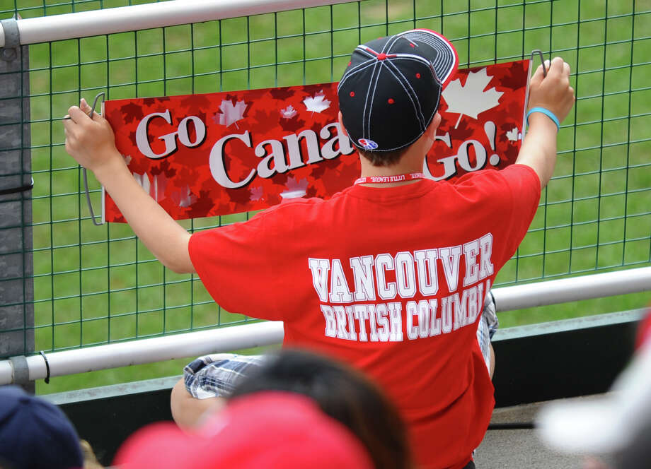 Canadian fans watch their team play against Mexico at the Little Leauge World Series in South Williamsport, Penn. on Friday August 17, 2012. Photo: Christian Abraham / Connecticut Post