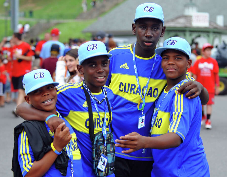 Caribbean team members pose for a photo while at the Little Leauge World Series in South Williamsport, Penn. on Friday August 17, 2012. Photo: Christian Abraham / Connecticut Post
