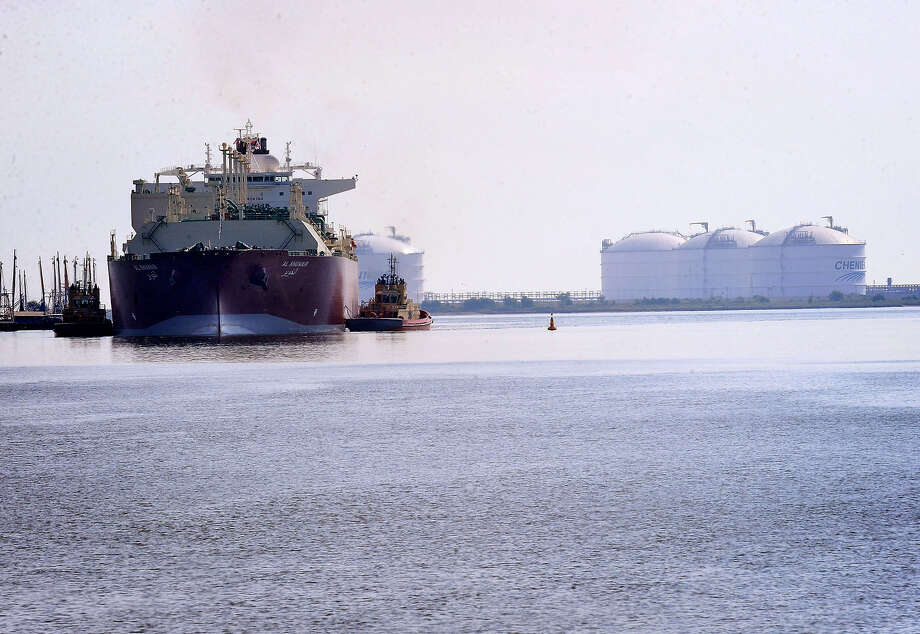 The first LNG ship entered the Golden Pass LNG Terminal in October of 2010 carrying with it one million barrels of the material that was used to start up the facility. Now, Golden Pass hopes to export LNG from the USA through a proposed $10 billion investment.  Guiseppe Barranco/The Enterprise Photo: Guiseppe Barranco / Beaumont