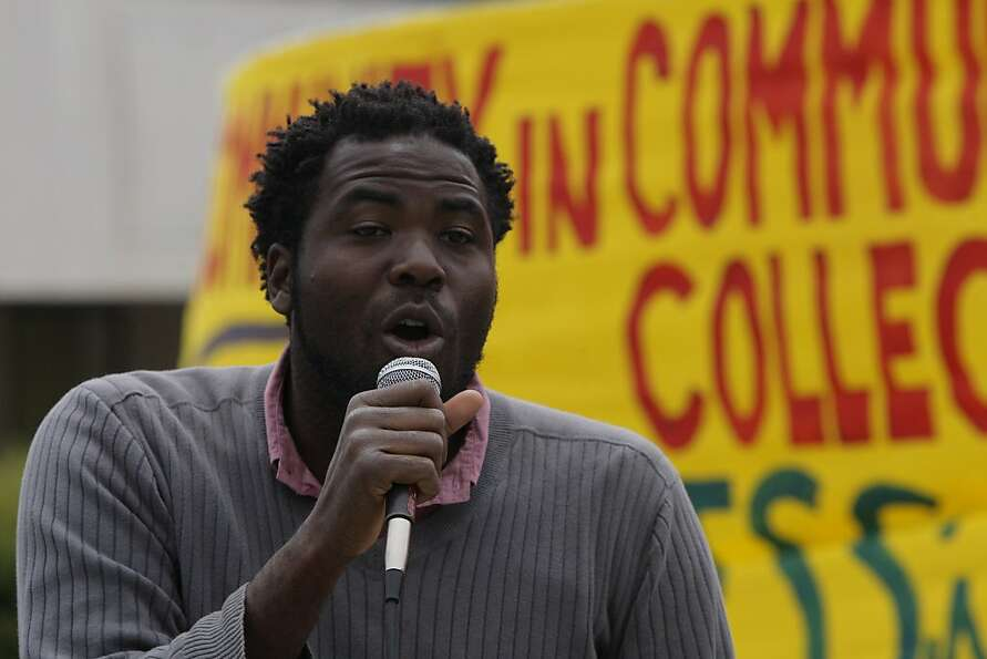 City College student Trustee William Walker speaks at a rally Aug. 15. He's a backer of the Measure