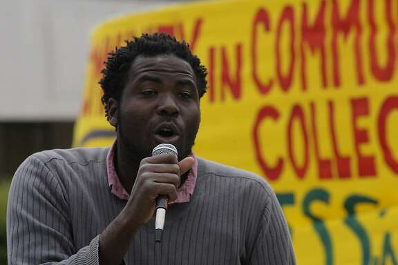 William Walker is seen speaking to a crowd during a rally at the City College of San Francisco, on Wednesday, August 15, 2012 in San Francisco, Calif.