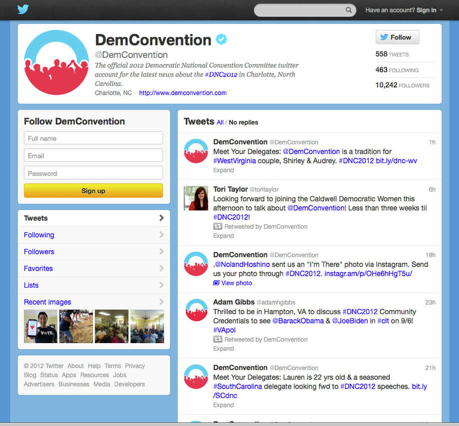 In this screen shot provided by the Democratic National Convention Committee, the committee's Twitter account is seen. Social media is making the smoke-filled rooms of political conventions a thing of the past. Democrats are promising to use Twitter, Facebook and blogs to make their 2012 convention the most open to the public in the party's two-century history. (AP Photo/Democratic National Convention Committee) Photo: Associated Press / Democratic National Convention C