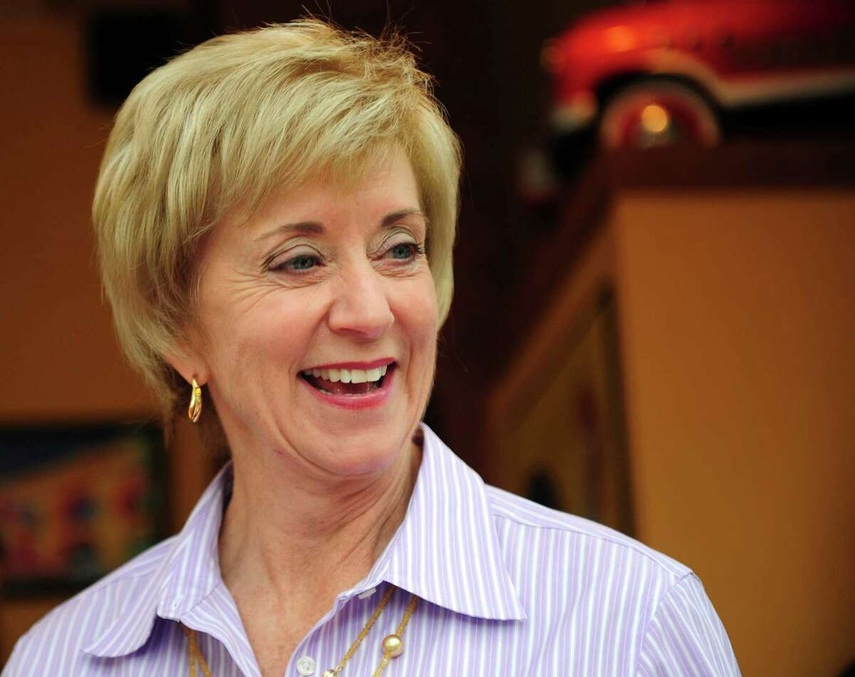 Republican Senate nominee Linda McMahon campaigns in Fairfield with State Senate Republican Leader John McKinney Wednesday, August 15, 2012 to kick off her general election bid.