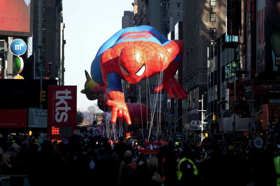 Spider-Man, in the form of a giant balloon, joined the annual Macy's Thanksgiving Day parade in New York City in 1987. Photo: File Photo, Associated Press / FRE170478 AP