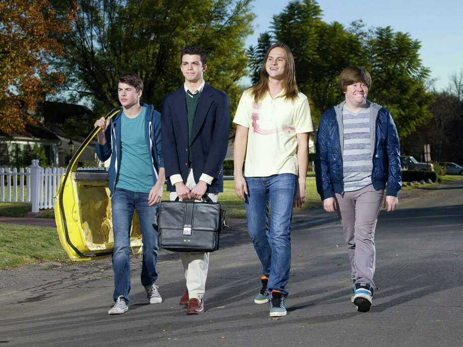 "Bubba Lewis as Simon Cooper, Joey Pollari as Will McKenzie, Mark L. Young as Neil Sutherland and Zack Pearlman as Jay Cartwright star in the ""The Inbetweeners"" on MTV."