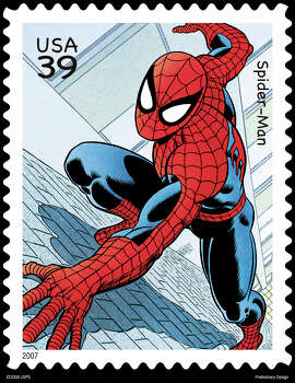 spider man stamp:  Spider-man will be among the Marvel Super Heroes on the 2007 commemorative stamps issued by the U.S. Postal Service. Guidelines to run the stamp art: 1. Must be in full color (if publication is in color). 2. If reproduced within 75 - 150% of actual size, must have a bar through the denomination. 3. Must have the following printed: [copyright sign] 2006 USPS Used with permission. All rights reserved. / handout email