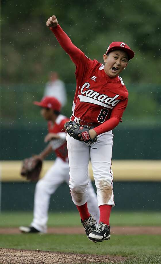 Vancouver, British Columbia's Ataru Yamaguchi reacts after getting Nuevo Laredo, Mexico's Marcelo Perez to fly out to end a pool play baseball game at the Little League World Series, Friday, Aug. 17, 2012, in South Williamsport, Pa. Canada won 13-9.  Photo: Matt Slocum, Associated Press
